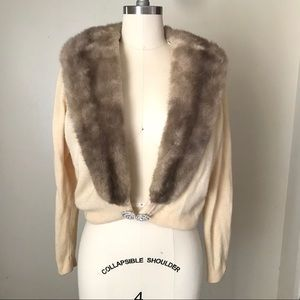 Cashmere Sweater with Detachable Fur Collar  XS